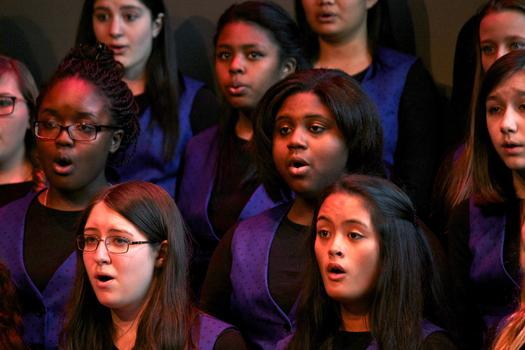 The Brooklyn Youth Chorus performs in the BAMcafé on the last day of the 2013 Crossing Brooklyn Ferry festival.