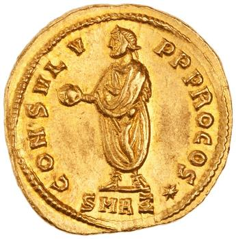 Aureus of Diocletian. Reverse: Emperor Holding a Globe and a Baton Gold Antioch 293–295 CE.