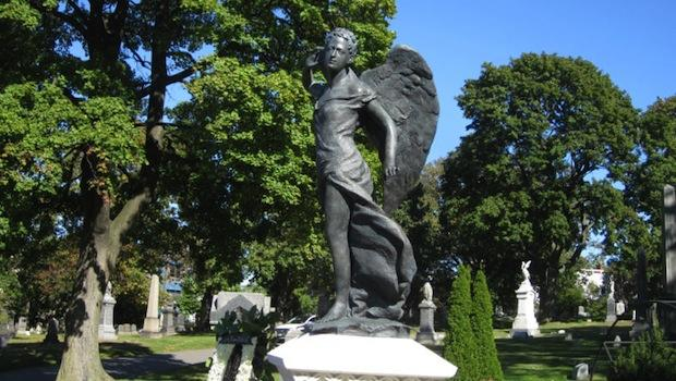 The 'Angel of Music' Statue on the grave of Louis Moreau Gottschalk in Green-Wood Cemetery