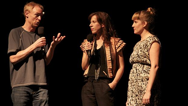 Host John Schaefer of WNYC's Soundcheck and New Sounds, with Missy Mazzoli and Lorna Dune Krier.