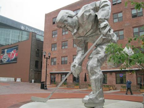 Prudential Center's Championship Plaza, 22-foot tall hockey player statue.
