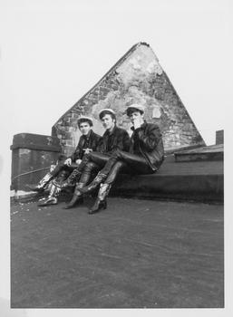 Paul McCartney, John Lennon and George Harrison on roof, Hamburg