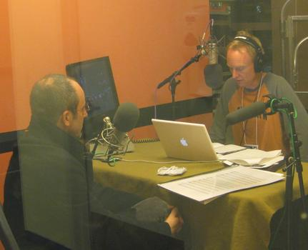 John Schaefer talks with Jeffrey Milarsky (left)