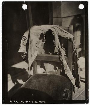 [Charred boy's jacket found near Hiroshima City Hall], November 5, 1945.