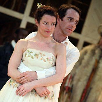 """Katy Stephens plays Rosalind and Jonjo O'Neill plays Orlando in the Royal Shakespeare Company's production of """"As You Like It."""""""