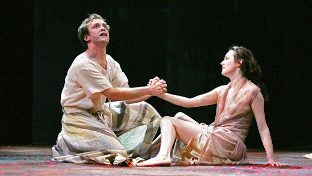 """The company will put on five plays in its current repertoire for the Lincoln Center Festival. Here, Sam Troughton plays Marcus Brutus with Hannah Young as Portia in """"Julius Caesar."""""""