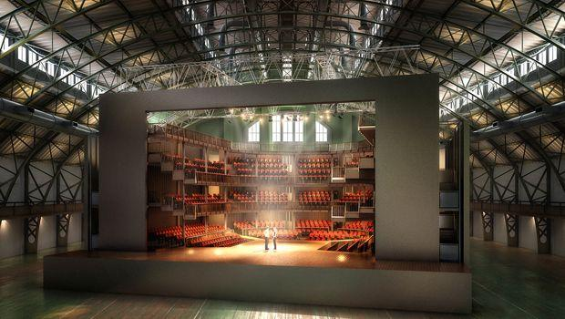 Here's what the Stratford-upon-Avon theatre might look like after it's constructed in the armory's Wade Thompson Drill Hall.