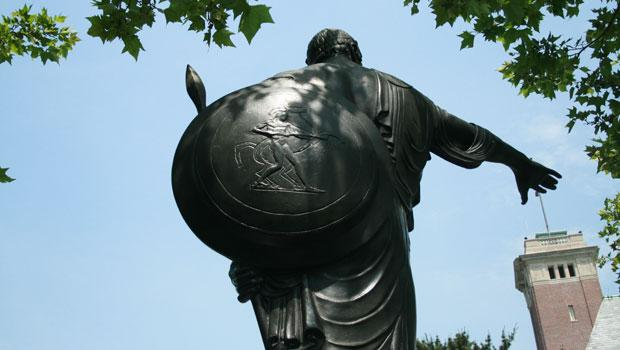 Major Barrett's shield. The bronze classical warrior stands on an ornamental base of Tennessee marble.