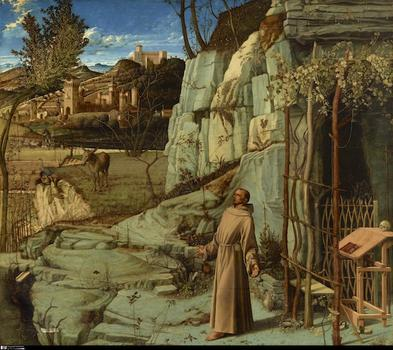 At the Frick Collection: Bellini's depiction of St. Francis receiving the stigmata, from the 15th century, is a natural wonder to behold.