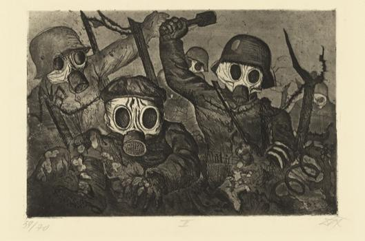 Otto Dix's portfolio of war etchings receive prominent placement in the exhibit. Above, 'Shock Troops Advance Under Gas,' from 1924. Dix served as a machine gunner for several years during WW I.