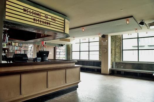 The marquee at the new Nitehawk Cinema's lobby/bar will feature food & drink specials.