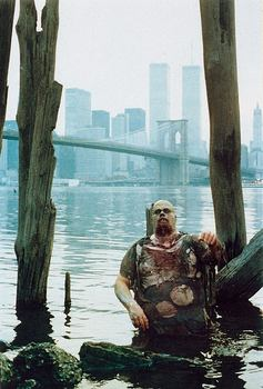 With props to the old New York skyline: Attack of the zombies! A still from Lucio Fulci's 1979 film, 'Zombie,' screening at MAD.