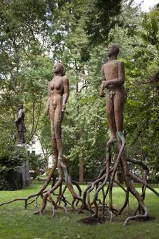 "Finally, two sculptures Saar created in 1994, ""Treesouls"" round out the collection of bronze cast statues."