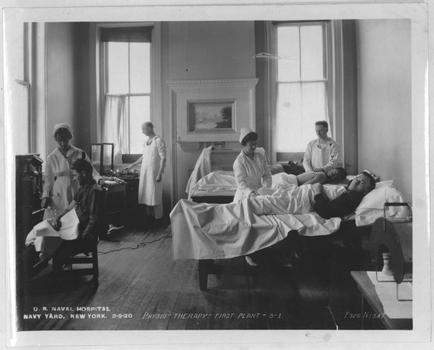 Patients being treated at the Naval hospital on March 9, 1920.