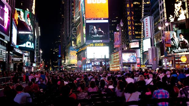 An estimated 2,000 watched the opening night of the Met Opera in Times Square.