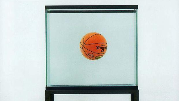 One Ball Total Equilibrium Tank, 1985. Glass, iron, water, and basketball, 64 1/2 x 30 1/2 x 13 1/4 in. The Dakis Joannou Collection, Athens