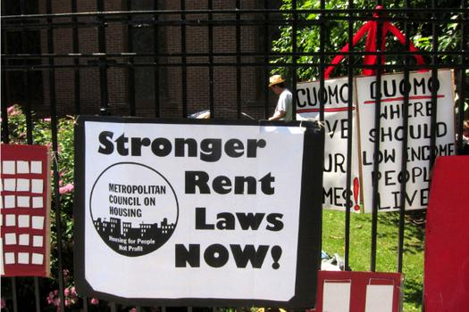 "The group Real Rent Reform set up a make-shift tent city they dubbed ""Cuomoville"" outside a Chelsea church on Tuesday."