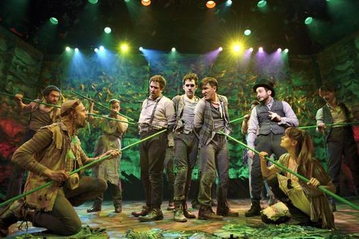 "David Rossmer, Adam Chanler-Berat, Carson Elrod and the cast of ""Peter and the Starcatcher."""