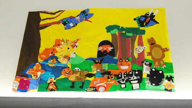 Four of the works in the show are collaborative projects, like this mural done by second-grade students at P.S. 59 in Brooklyn.