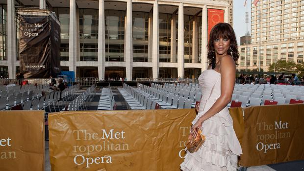 Tyra Banks arrives for the Met's opening night gala.