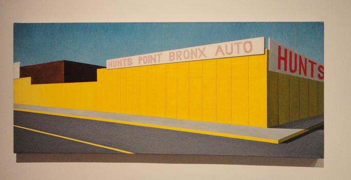 Also at the Museum: stunning 1980s Bronx landscapes by Cuban-American painter Emilio Sanchez, including this view of a Hunt's Point auto body shop.