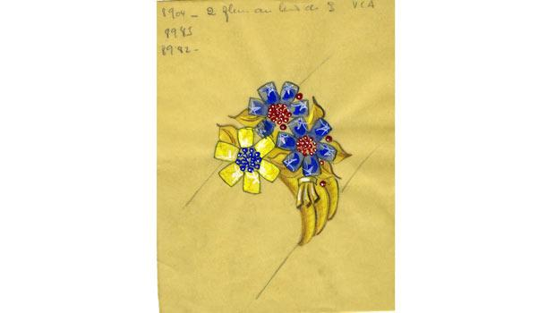 A watercolor drawing featuring a passe-partout chain necklace/belt with floral clips was among the pieces in the Cooper-Hewitt exhibition.