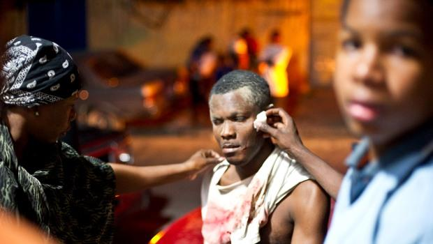 A wounded man in Port-au-Prince, Haiti