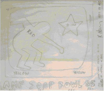 "Keith Haring's ""Soap Bowl"" sold for over $12,000."