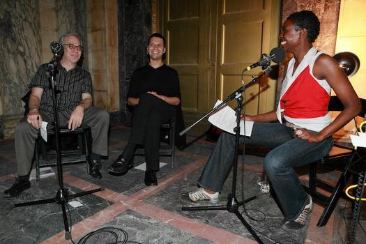 (from left to right) Steve Wax, Managing Partner for Campfire Media and filmmaker; Cornelius Dufalo, violinist for Ne(x)tworks; Helga Davis, WQXR host