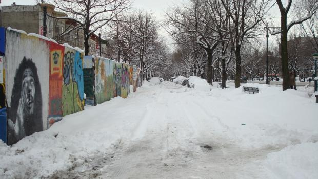 Snow had not been cleared from the Eastern Parkway access roads by mid-day in Crown Heights, Brooklyn.