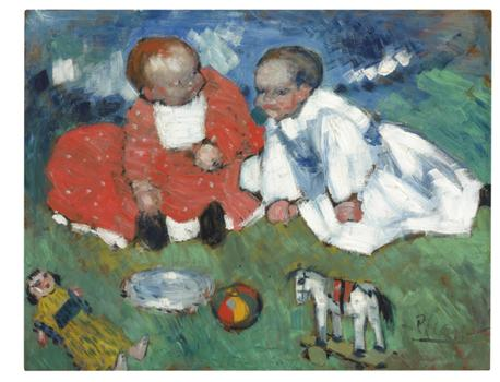 "Picasso's ""Les enfants et les jouets"" from 1901 is likely to sell for between $5.5 and $7.5 million."