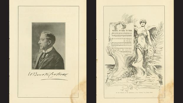 """Written on the bottom right: """"To the memory of the musicians of the Titanic by Henry Hutt."""""""