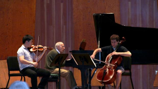 Pianist Bruno Canino, violinist Ying Fu and cellist Matt Zalkind rehearse Shostakovich