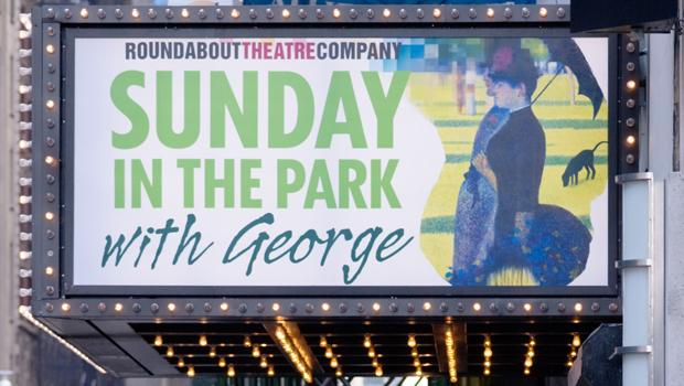 Marquee from the 2008 Broadway revival of <em>Sunday in the Park with George</em>, music and lyrics written by Stephen Sondheim. The show premiered in 1984.
