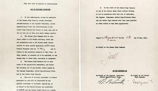 The German\'s surrender, signed at Reims May 7, 1945.