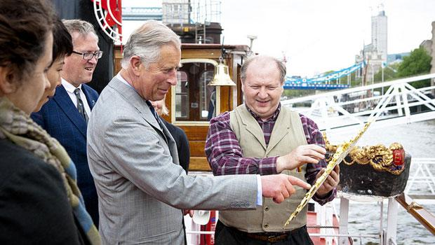 The Prince of Wales with Lamb and Pageant Master Adrian Evans.