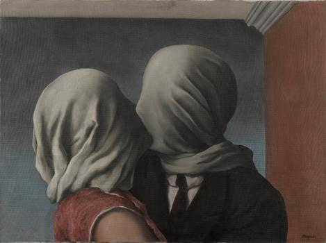 René Magritte (Belgian, 1898–1967). Les amants (The Lovers). 1928.