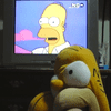 Watching reruns of 'The Simpsons'