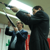 Kurt Andersen and writer Joel Stein at the Westside Pistol and Rifle Range in Manhattan