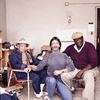 Romare Bearden, Andre Thibault/Teabo and Russell Goings in Bearden's art studio