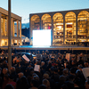Protestors hold signs outside the Metropolitan Opera on opening night of the opera 'The Death of Klinghoffer' on October 20, 2014 in New York City.