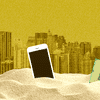 Graphic of an iPhone, computer chip, and skyscrapers rising up from sand.