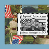 """A 20-cent postage stamp featuring an illustration of seven Hispanic Americans standing in front of an American flag. According to the National Postal Museum, """"The Hispanic Americans stamp design featu"""