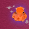 tiny and cute pinkish orange octopus with wide-set eyes and halo lighting with cartoon sparkles around it against a wine-colored paper-textured background