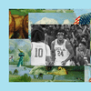 The UCLA basketball forward Jalen Hill is cheered on by a stadium of fans after scoring against a rival team. The image is set into a frame featuring The Experiment's show art.