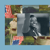 Simone Biles smiles and waves to an Olympic crowd. The image is set into a frame featuring The Experiment's show art.