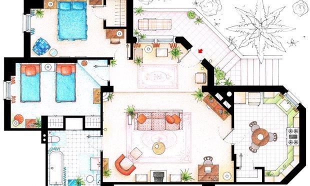 Floor Plans For Your Favorite Sitcom Homes Studio 360 Wnyc