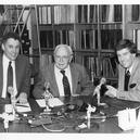 "Special 50th anniversary ""This is My Music"" of 3/1/86 : L to R: Warren Bodow, Pres, WQXR; E.M. Sanger (co-founder of station) ; and Robert Sherman, special host for this program."