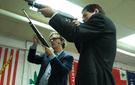 Kurt Andersen and writer Joel Stein at the Westside Pistol and Rifle Range in Manhattan