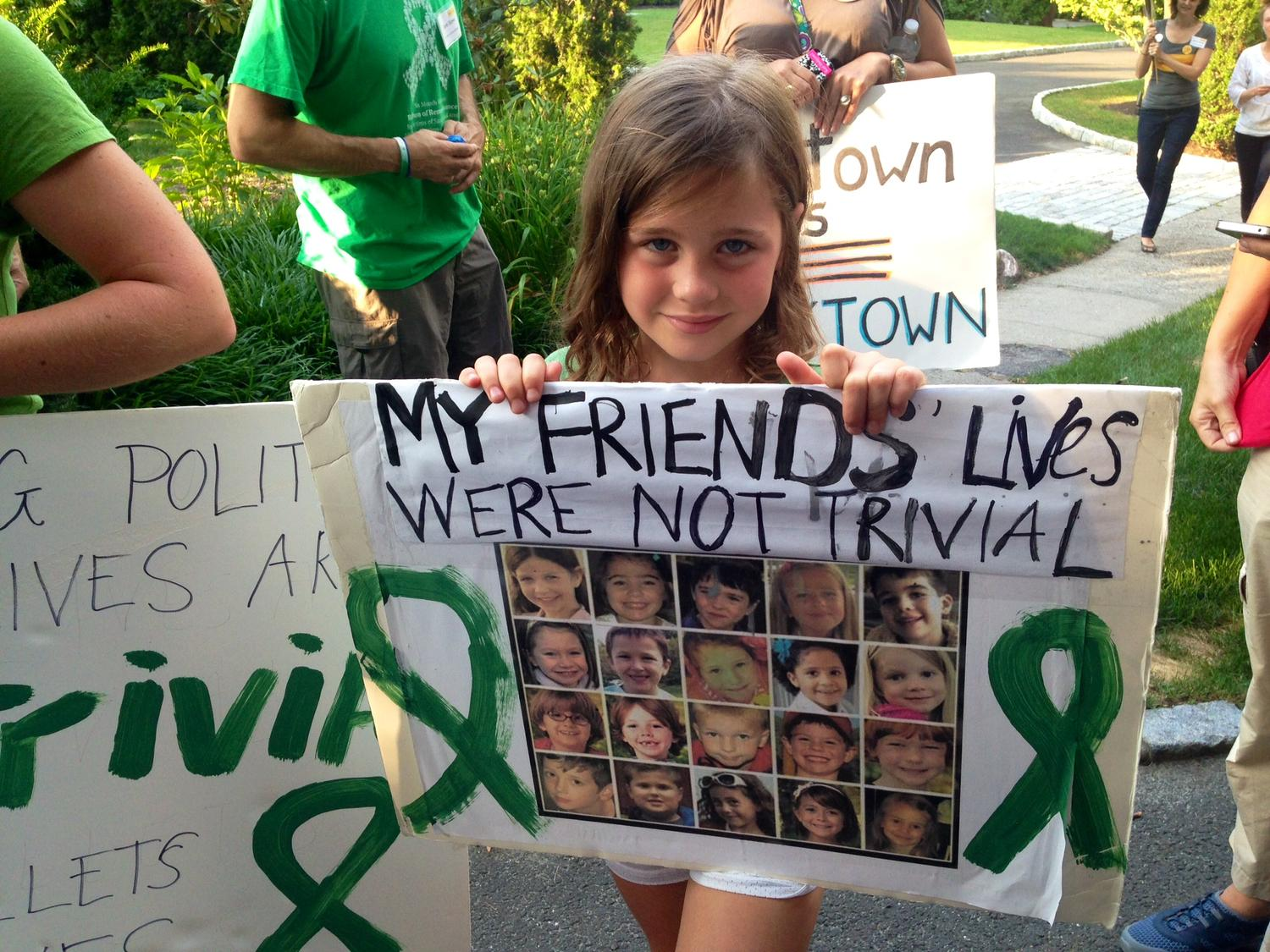 Marie Morosky, 7, said five of her friends died in the Sandy Hook Elementary massacre. (Sarah Gonzalez/WNYC)